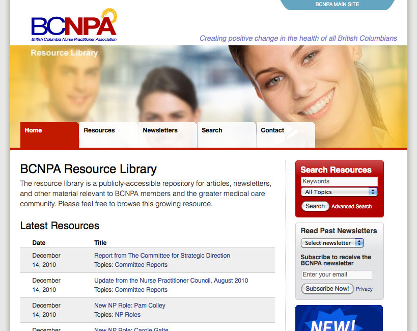 BCNPA Resources Microsite Homepage