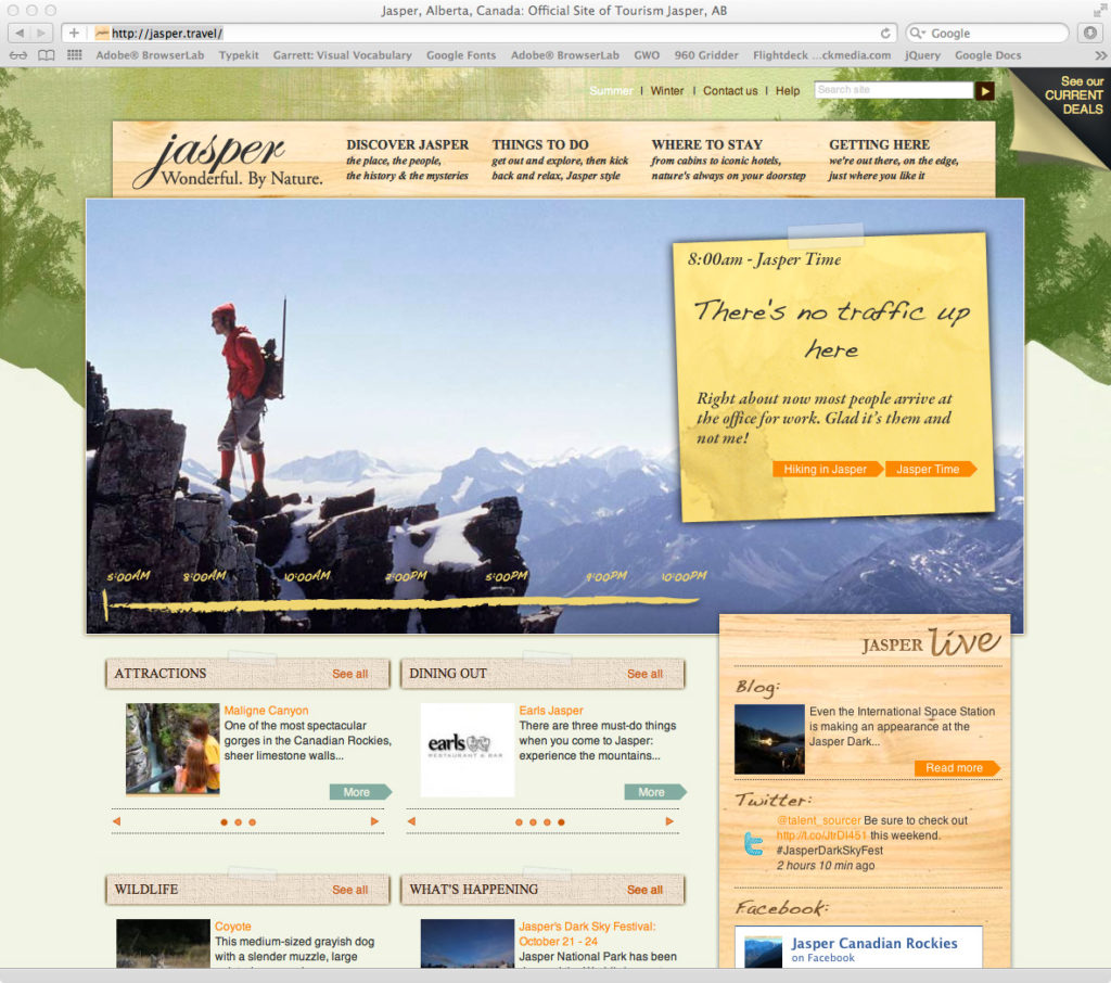 Tourism Jasper website